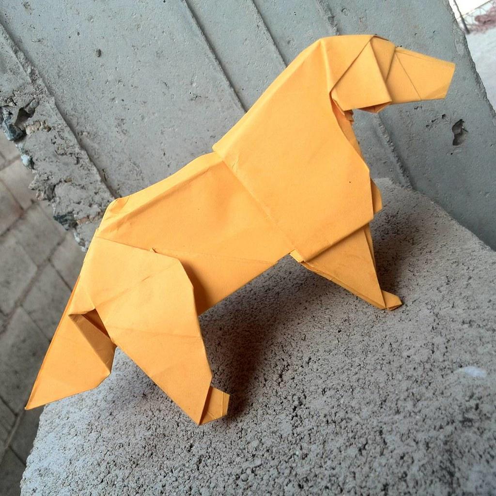 origami dog golden retriever
