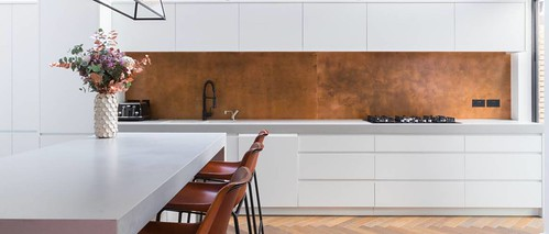 Copper Kitchen Backsplash Murals To Go With River Rocks