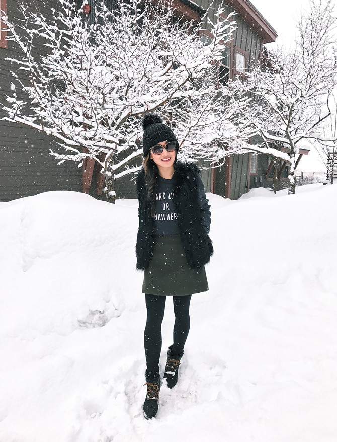 snow day outfit sperry luca wedge winter boots
