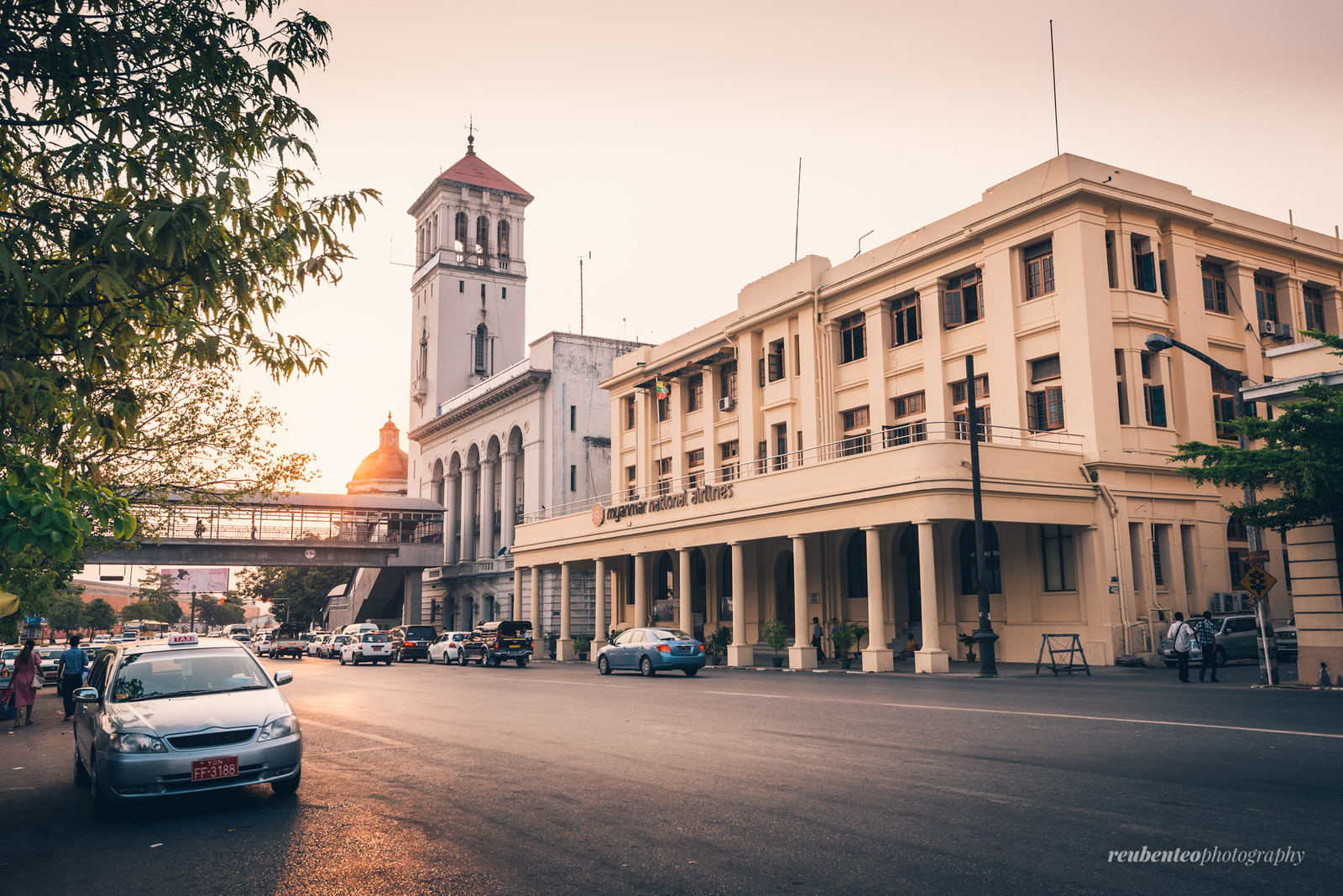 Myanmar Port Authority Building at Sunset