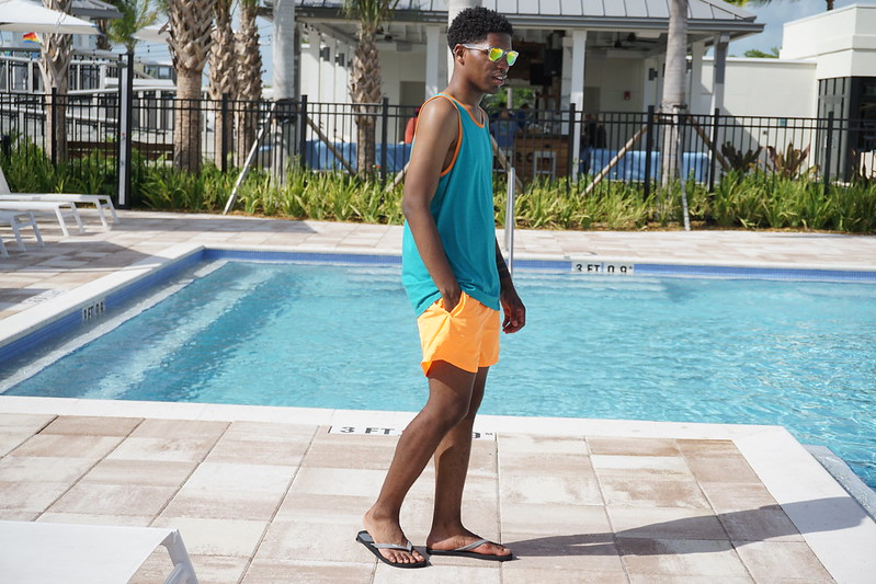 Blue and Orange Swimwear At The Gates Hotel