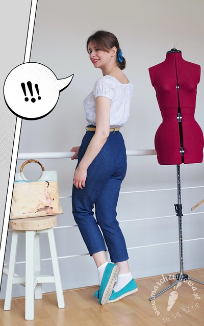Peasant blouse + Jeans, blog, szycie, krawiectwo, retro, vintage, style, fashion, 50s, 60s, denim, bluzka-chłopka, bawełna, wykrój, beyer mode, burda, mokasyny, Sca'Viola, turkus, tu się szyje, wrocław, pracownia marchewkowej