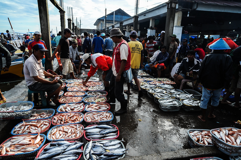 General Photos Indonesia Busy Fish Market In Makassar