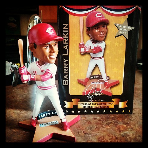 #BarryLarkin is the latest addition to our #Reds bobblehead family.