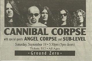09/19/98 Cannibal Corpse/ Angel Corpse/ Sub-Level @ Ground Zero, Minneapolis, MN