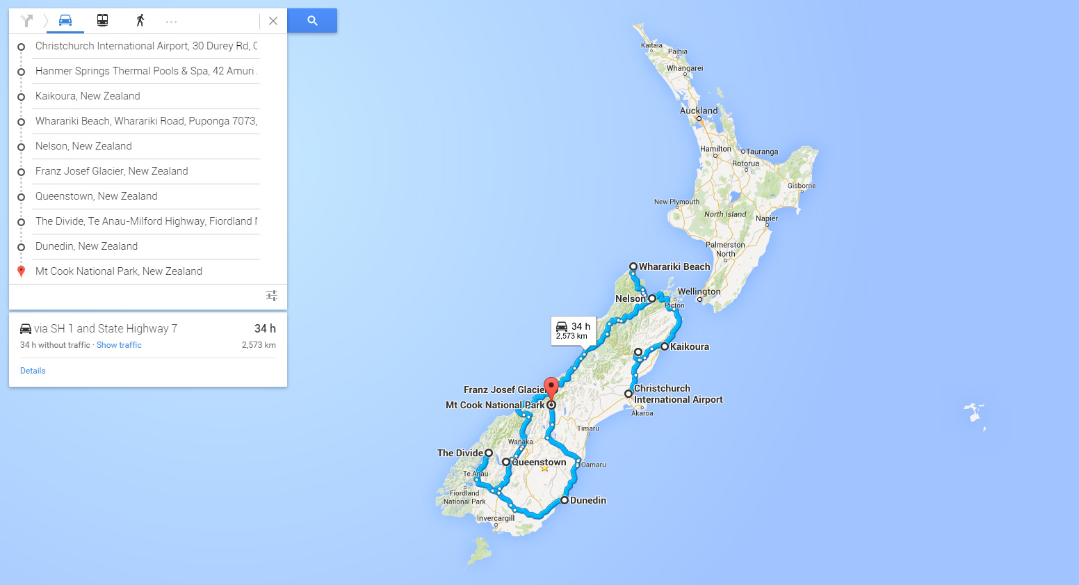 South Island, New Zealand - Travel Route