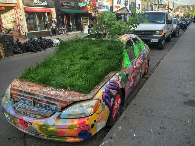 Une voiture recouverte de pelouse à Toronto