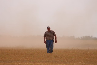 Dad coming through the dust.