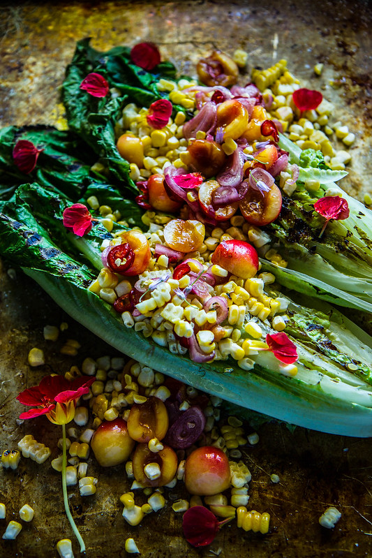 Grilled Romaine and Corn Salad with Pickled Cherries