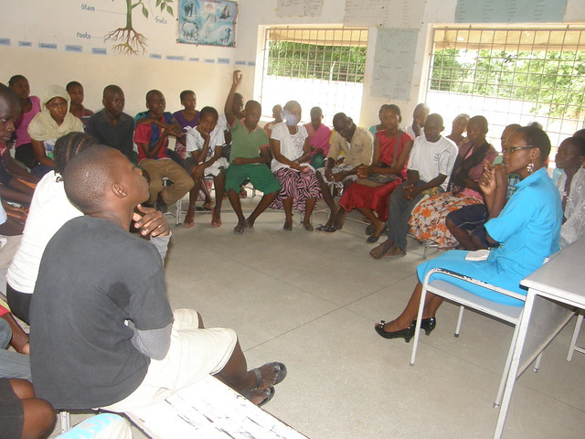 Dorcas leading the counselling session