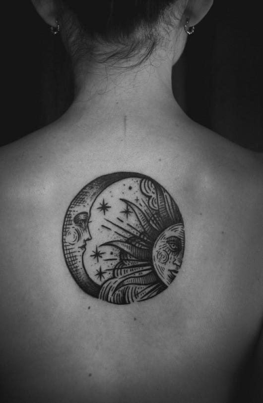 Moon Sun Tattoo Black White Cherryblossom4444 Flickr