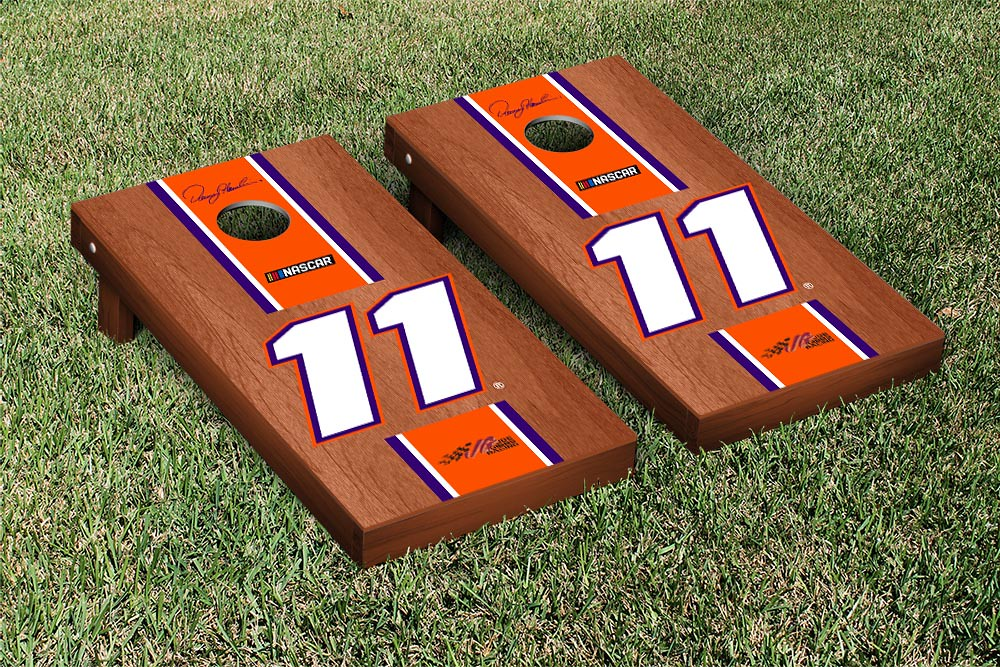 DENNY HAMLIN #11 CORNHOLE GAME SET ROSEWOOD STAINED STRIPE VERSION
