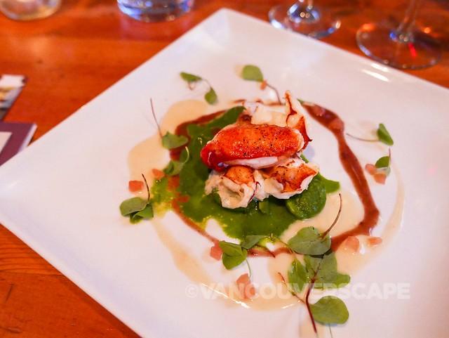 Nova Scotia lobster, fiddleheads, spinach purée, tomato concassé, beurre rouge et blanc