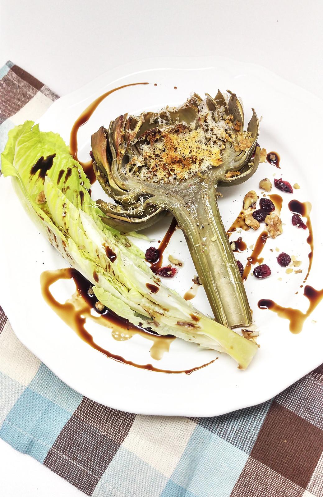 孤身廚房-青醬帕瑪森起司鑲烤朝鮮薊佐簡易油醋蘿蔓沙拉26