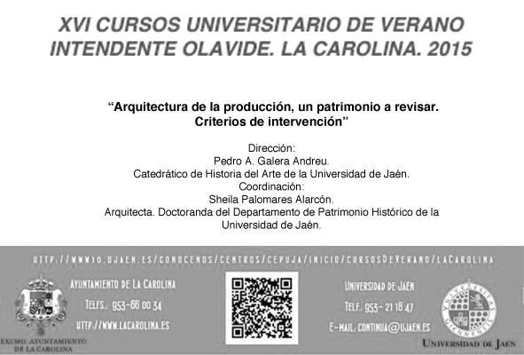 cartel no oficial cursos verano la carolina_universidad jaén_reharq_patrimonio industrial