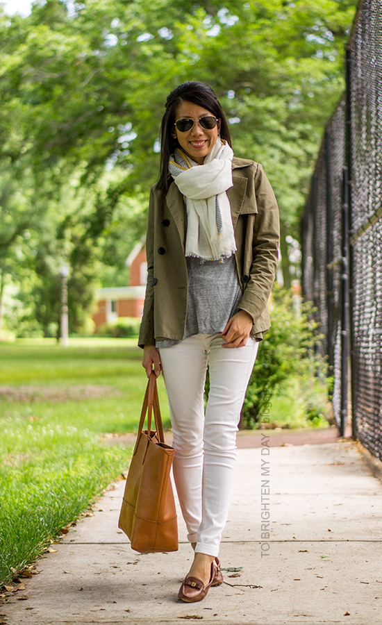 linen scarf, green swing trench jacket, cognac brown tote, white jeans, brown loafers