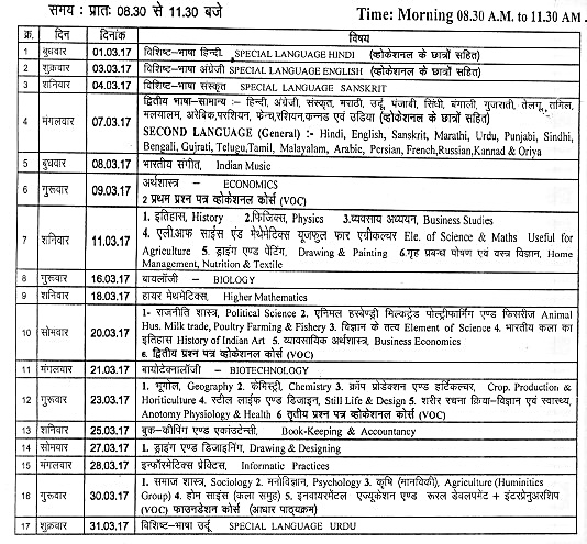 Time Table for Class 12th exam