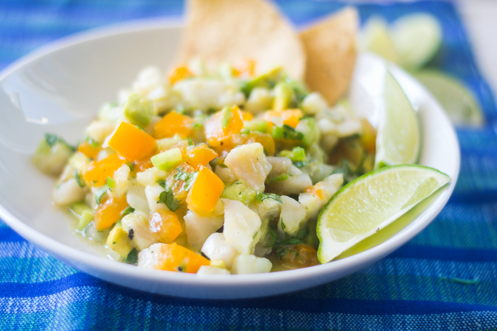 Tilapia Ceviche full of bright citrus juice and cool flavors of avocado, tomato and cucumber. The perfect summer bite! via LittleFerraroKitchen.com