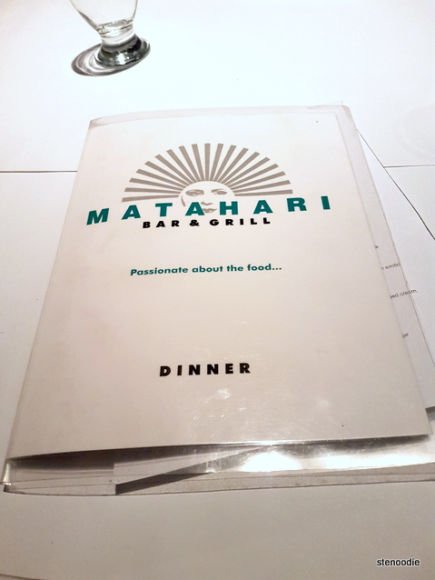Matahari Bar & Grill menu cover