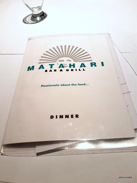 Matahari Bar & Grill menu cover