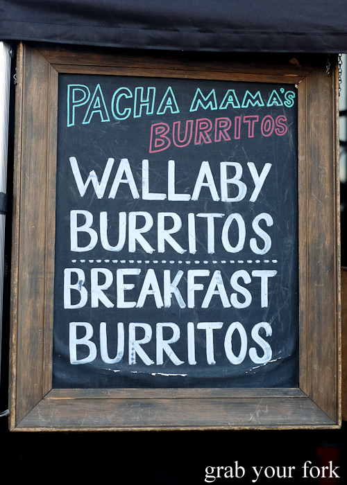 Wallaby burritos by Pacha Mama at the Salamanca Market in Hobart