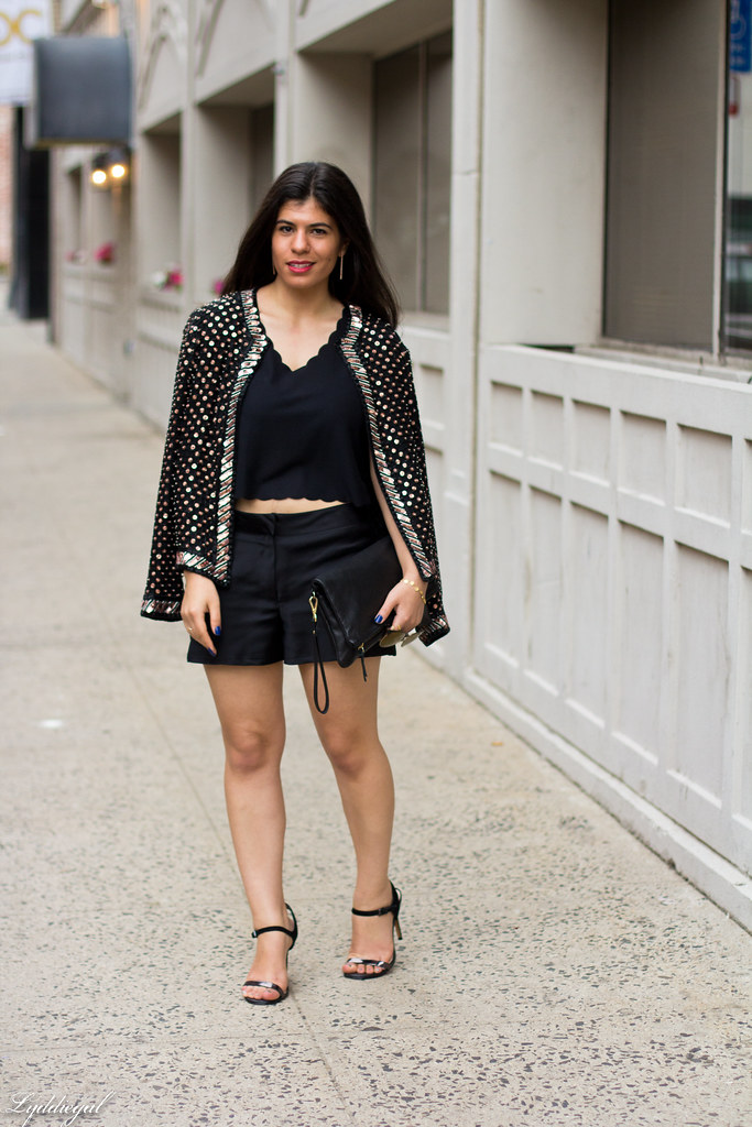 scalloped crop top, black satin shorts, beaded jacket-1.jpg