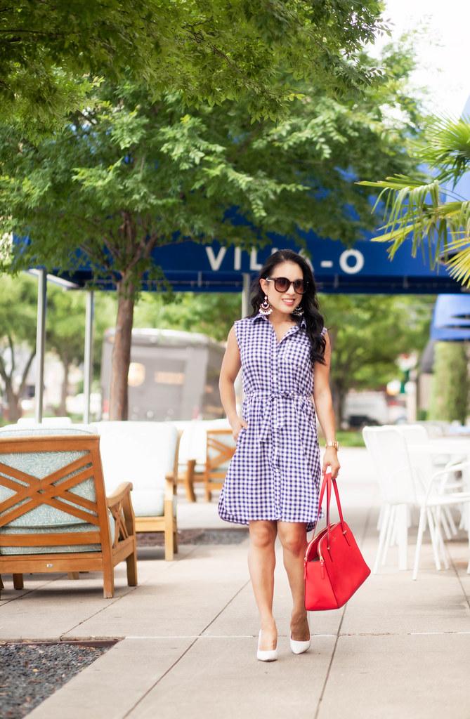 cute & little blog | petite fashion | gingham shirtdress, j. crew tortoise flower chandelier earrings | summer july 4th outfit
