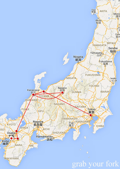 Mapping our travels from Nara to Osaka, Japan