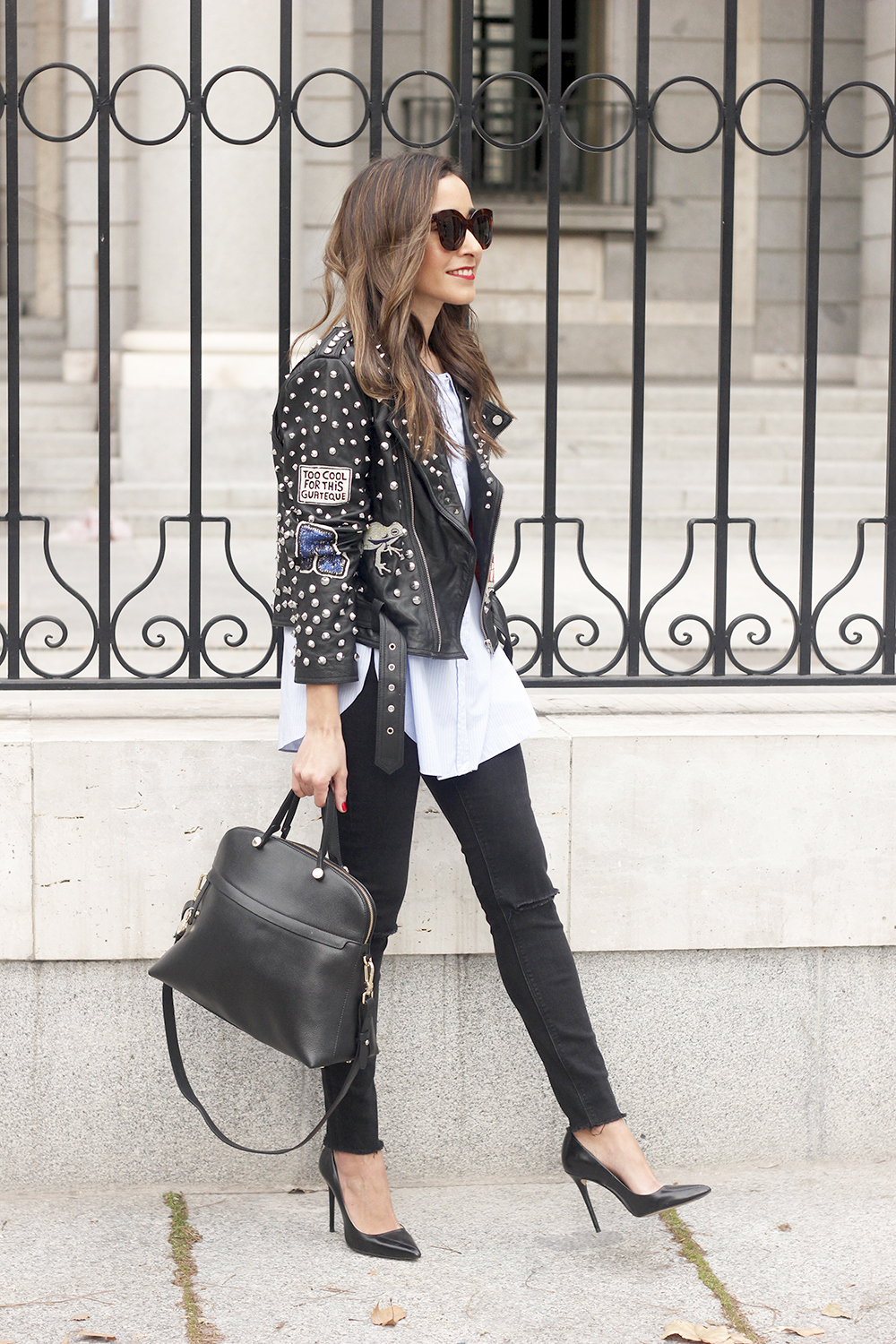Leather Jacket With Studs And Patches ripped jeans heels furla bag céline sunnies12