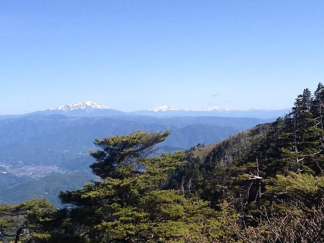 恵那山 登山道からの眺望 御嶽山・乗鞍岳・穂高岳