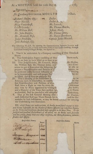 At a meeting held the 10th day of  tear in broadside   1785 … The following plan  for opening the communication between Santee and Cooper Rivers  by a canal and locks  … was agreed to …  Chaleston  1785     Broads