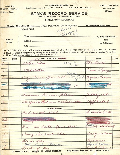 (Undated) Stan's Record Service, Shreveport, LA (Order Form - Page 1)