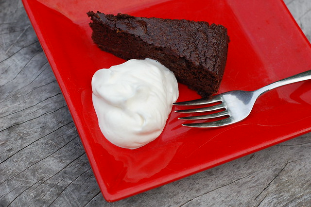 Chocolate orange beetroot cake with fresh vanilla whipped cream by Eve Fox, the Garden of Eating, copyright 2015
