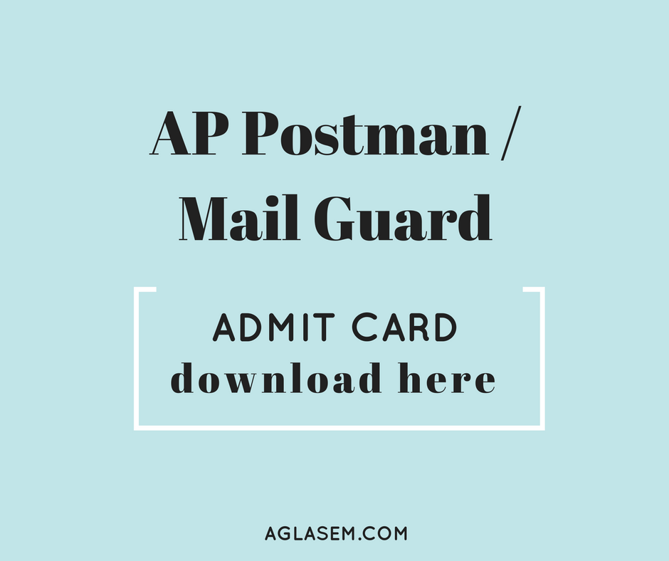 AP Postman Admit Card / Hall Ticket