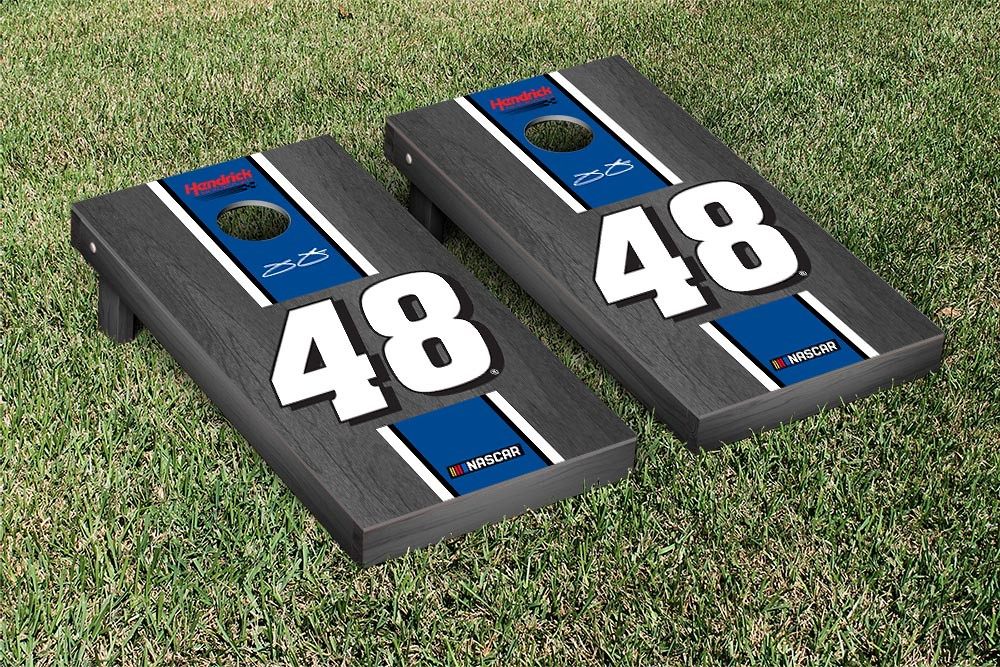 JIMMIE JOHNSON #48 CORNHOLE GAME SET ONYX STAINED STRIPE VERSION (1)
