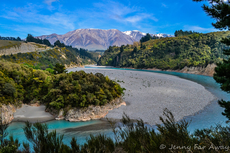 View along the Rakaia Gorge Walkway, Canterbury, New Zealand.