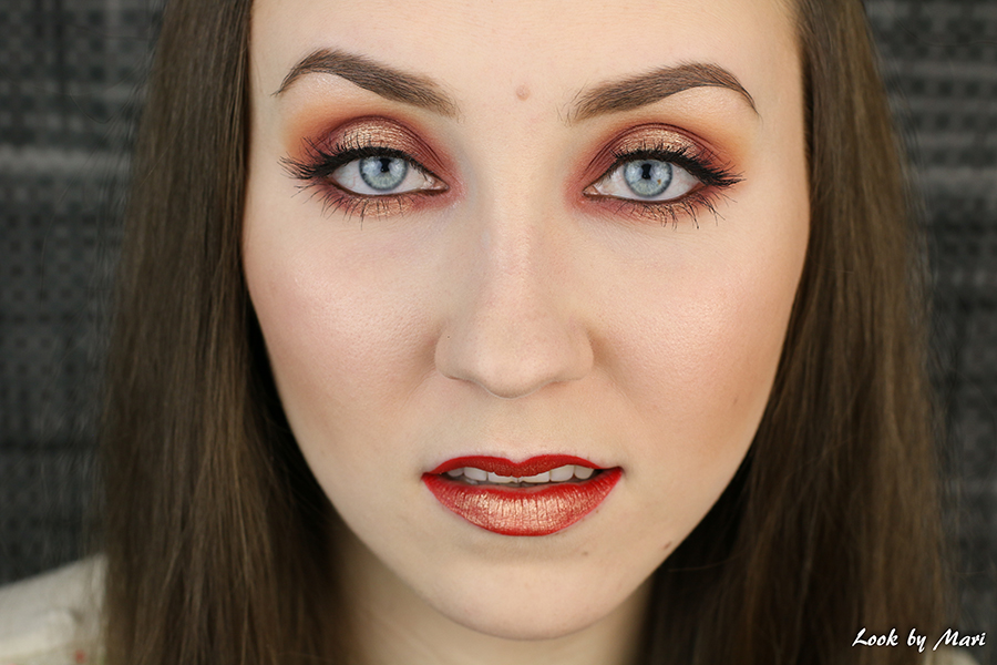 6 warm tone toned halo eyes orange red coppery smoky eye glam party makeup red & gold ideas tutorial