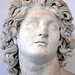 Marble copy of 4th century BCE portrait of Alexander the Great exhibiting typical characteristics of sculpture by Lysippos - tilted head, detailed hair, eyes gazing upward and lips slightly parted.
