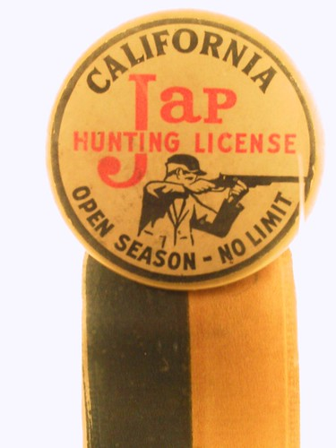 Jap hunting license racist button exhibit on japanese for Washington dc fishing license