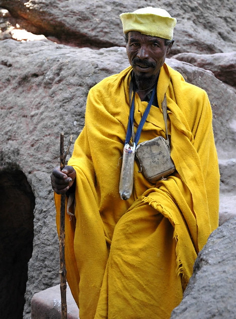 lalibela ethiopia man in saffron robe im