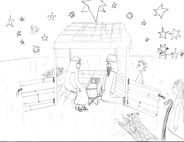 Pencil Of The Nativity Scene Coloring
