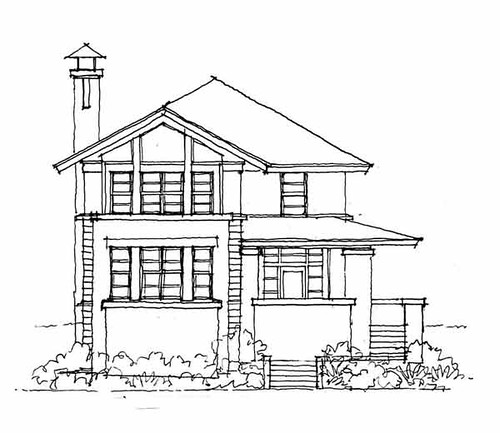 Front elevation of sharp residence a front elevation for House sketches from photos