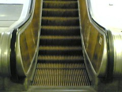 One of the last wooden escalators in the métro | by clotilde
