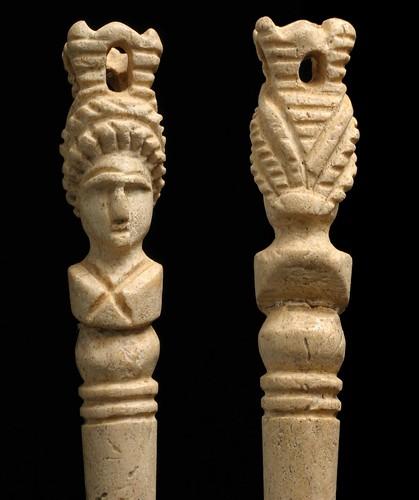 Dorchester carved head hairpin roman bone