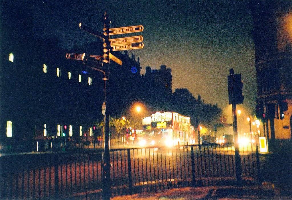 London Buses at Night London Street at Night