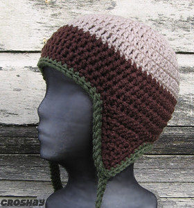 flyflap cap crocheted earflap hat linen, brown and olive ...