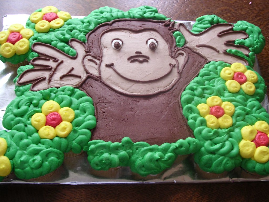 Monkey Cake Design Easy : Curious George Cupcake Cake 35 yellow cupcakes with ...