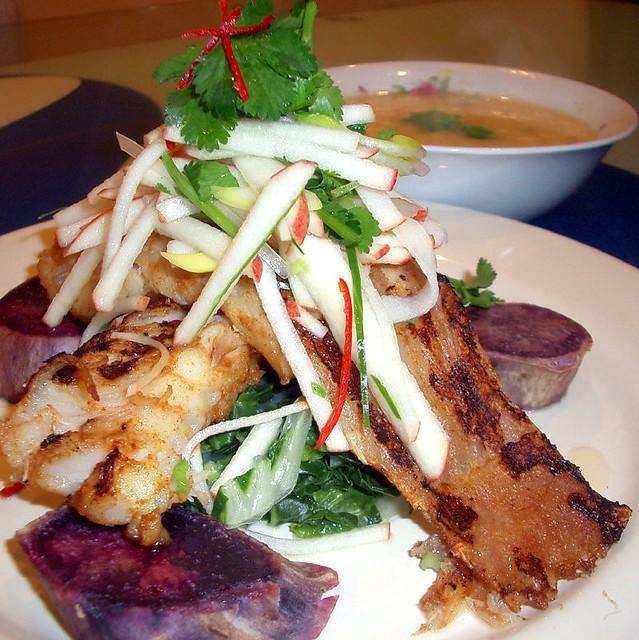 Grilled Skate with Thai-style Apple Salad, Roasted Purple Sweet Potato ...
