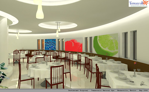 Restaurant interior million particles hours