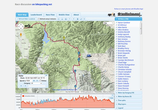 Tour Divide 2015 live tracker by trackleaders.com